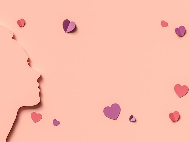 Illustration 3d. 8 mars avec visage de femme en papier découpé. concept de la journée des femmes.