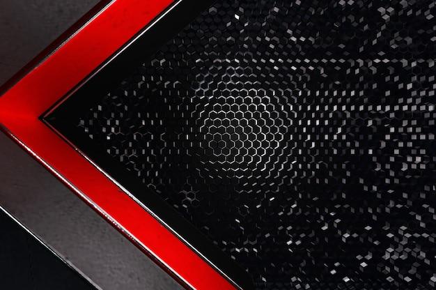 Illustration 3d. abstrait argent, direction de la flèche rouge et noire sur un espace vide noir pour le logo de texte, conception de surface et de brochure futuriste de luxe moderne