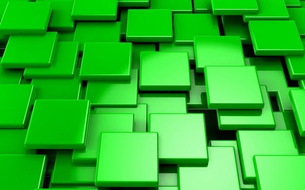 Illustration 3d abstrait concept de cubes verts rendu
