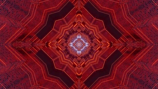 Illustration 3d abstrait visuel du tunnel de science-fiction avec des formes géométriques et éclairage au néon rouge