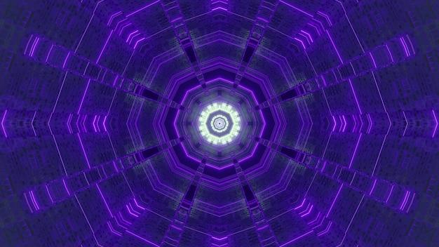 Illustration 3d abstrait visuel du tunnel de science-fiction polyèdre sans fin avec design néon violet