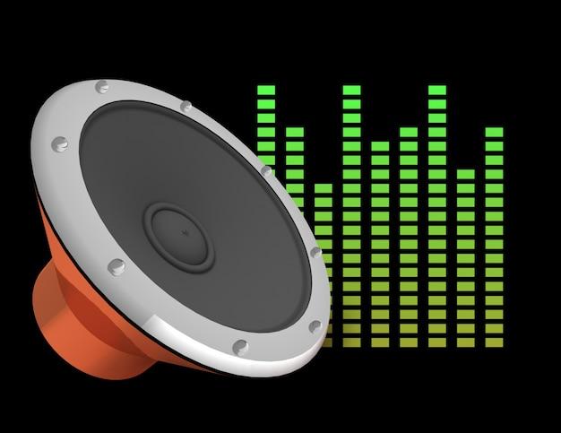 Illustration 3d abstraite de fond sombre avec haut-parleur audio et égaliseur.