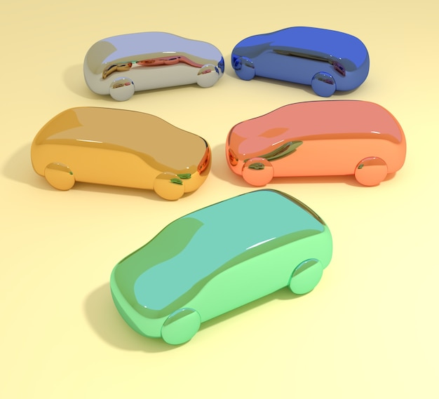 Illustration 3d abstraite d'un groupe de petites voitures de couleur vive disposées face à face sur une surface jaune