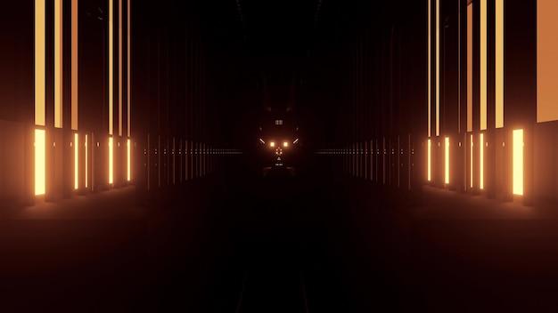 Illustration 3d abstraite de perspective d'éléments jaunes lumineux formant un couloir géométrique sur fond noir