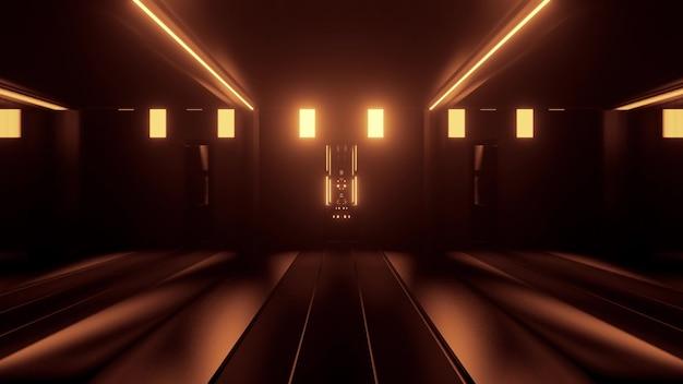Illustration 3d abstraite d'un tunnel géométrique symétrique éclairé par des lumières jaunes néon dans l'obscurité