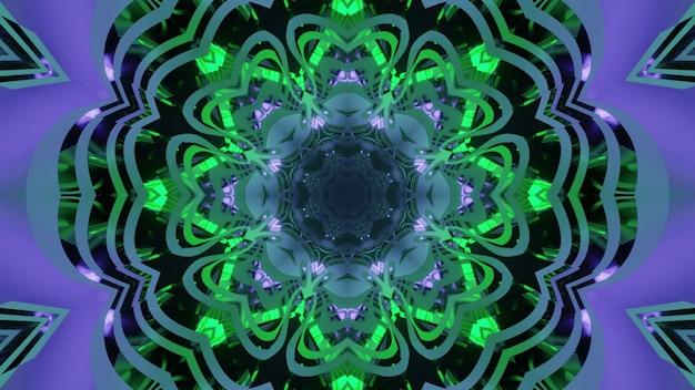 Illustration 3d abstraite visuelle avec des formes d'étoiles et de fleurs ornementales dans des tons néon vert et violet pour la conception futuriste de science-fiction