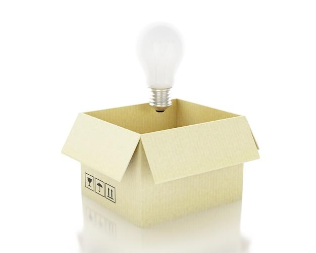 Illustration 3d ampoule. idée et penser en dehors du concept de boîte.