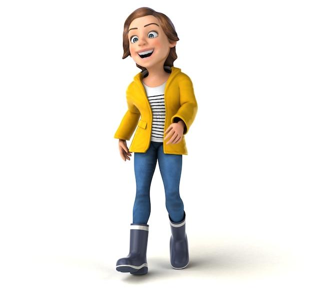 Illustration 3d amusante d'une adolescente de dessin animé avec des vêtements de pluie