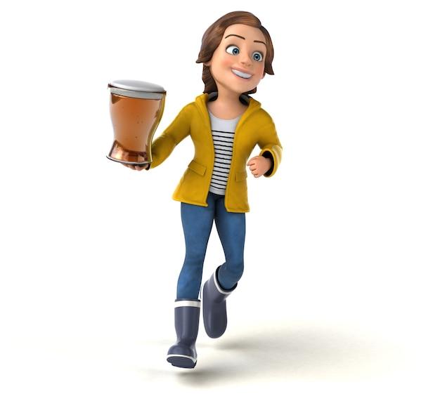 Illustration 3d amusante d'une adolescente de dessin animé