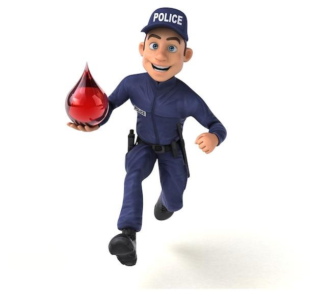 Illustration 3d amusante d'un agent de police de dessin animé