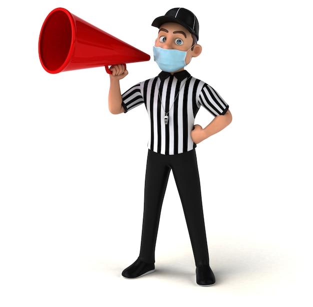 Illustration 3d amusante d'un arbitre américain avec un masque