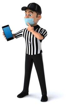 Illustration 3d amusante d'un arbitre américain avec un smartphone