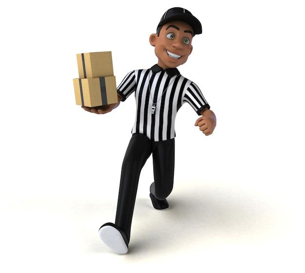 Illustration 3d amusante d'un arbitre américain