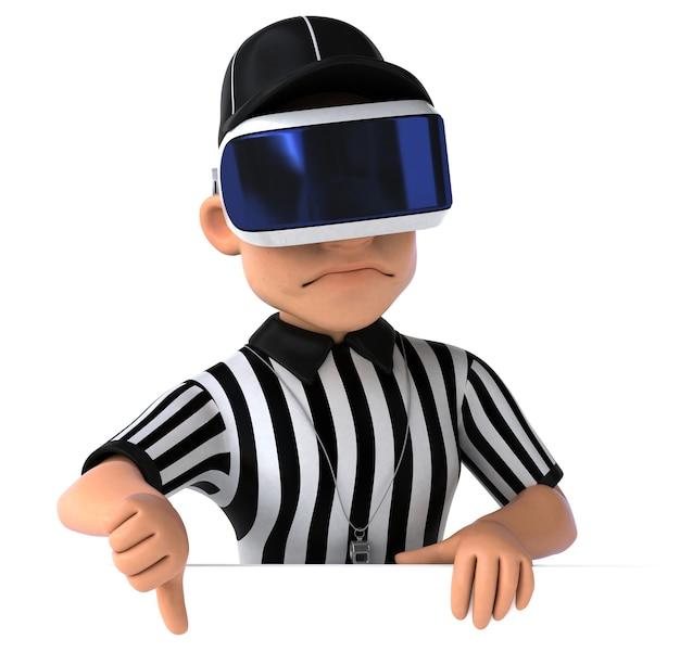 Illustration 3d amusante d'un arbitre avec un casque vr