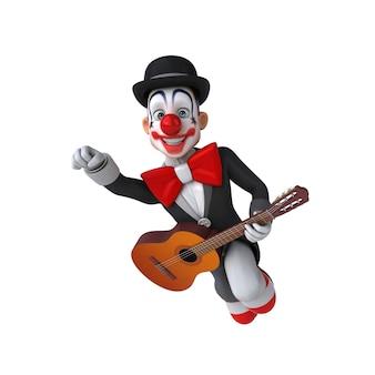 Illustration 3d amusante d'un clown amusant