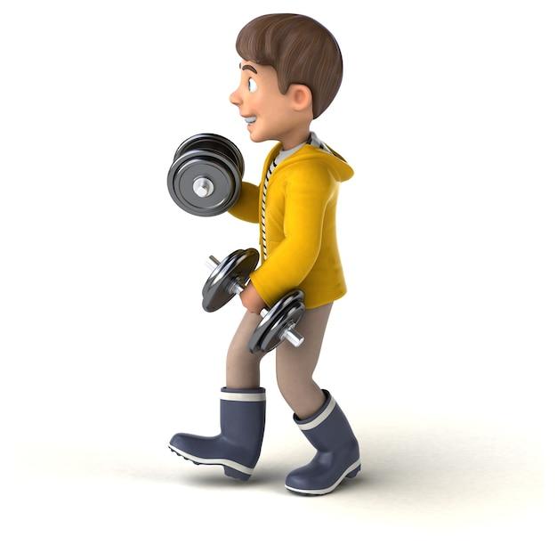 Illustration 3d amusante d'un enfant de dessin animé avec des vêtements de pluie