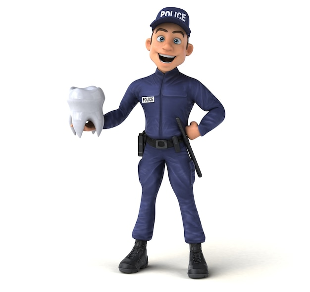 Illustration 3d amusante d'un policier de dessin animé