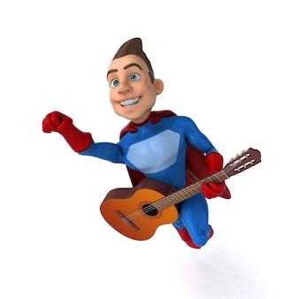Illustration 3d amusante d'un super-héros amusant