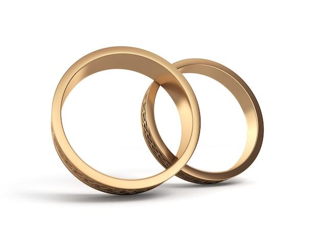 Illustration 3d anneaux de mariage or gravé isolé sur blanc