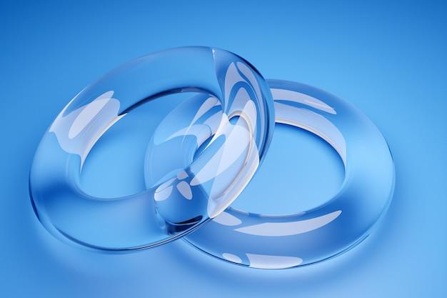 Illustration 3d des anneaux de mariage transparents sur fond bleu. formes géométriques en forme d'anneau dans le symbole de l'infini. symbole d'amour et de fidélité, union des amoureux