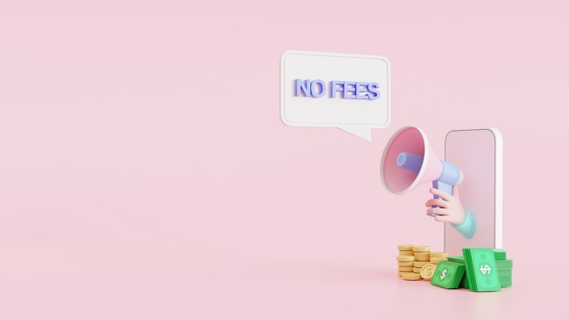 L'illustration 3d annonce la main de bande dessinée de signe de bannière de notification tenant le mégaphone sortant du téléphone portable sans bulle de discours de frais cachés. haut-parleur. bannière pour les entreprises, marketing