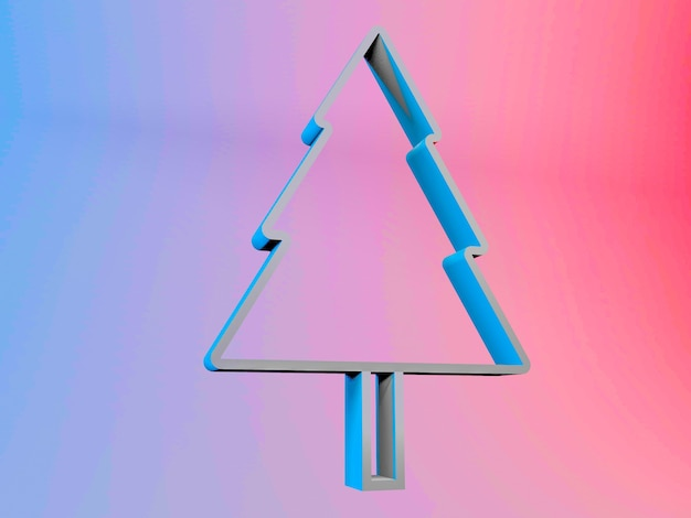 Illustration 3d d'un arbre de noël sur un fond dégradé