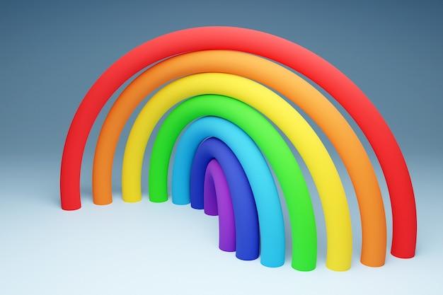 Illustration 3d d'une arche ronde arc-en-ciel sur fond gris. portail de longues balles colorées gonflables vers la terre magique