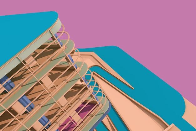 Illustration 3d de l'architecture de la structure métallique