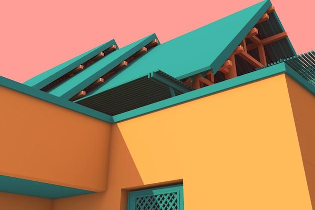 Illustration 3d, architecture, toit à pignon