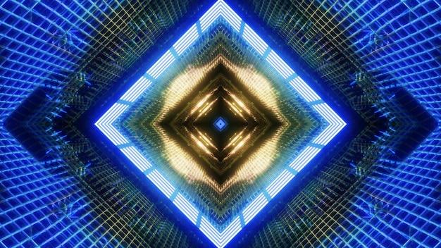 Illustration 3d arrière-plan visuel du tunnel de science-fiction géométrique abstrait avec un design en forme de carré symétrique et un éclairage coloré lumineux