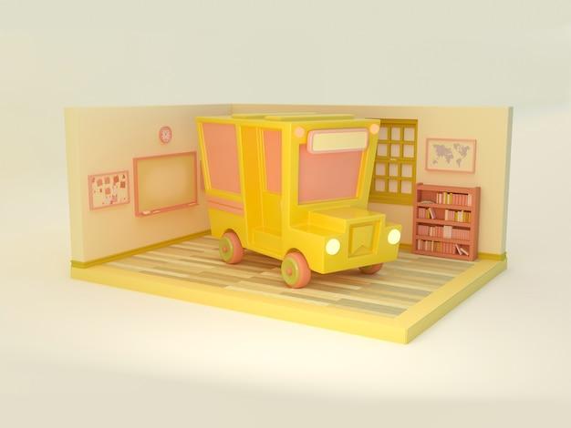 Illustration 3d. autobus scolaire et salle de classe sur fond isolé. retour à l'école