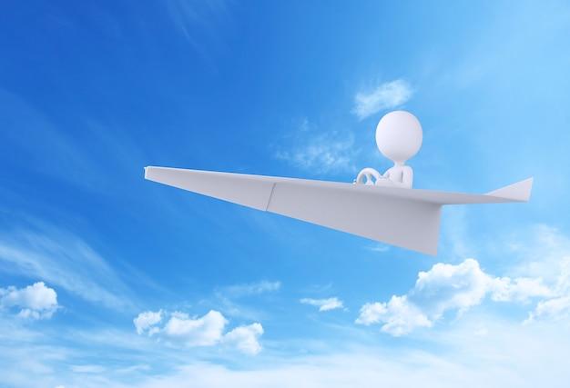 Illustration 3d avion en papier volant dans le ciel bleu