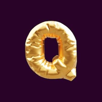 Illustration 3d de ballon de lettre majuscule d'or. illustration 3d du ballon de lettre p majuscule d'or.
