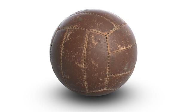 Illustration 3d de ballon de volley-ball ou de football traditionnel en cuir marron sur blanc