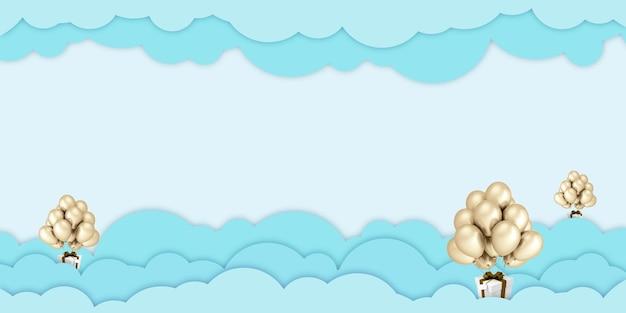 Illustration 3d ballons d'art papier flottant sur les nuages de ciel vert et coffrets cadeaux sur fond de ciel bleu pour joyeux noël et bonne année fête d'anniversaire