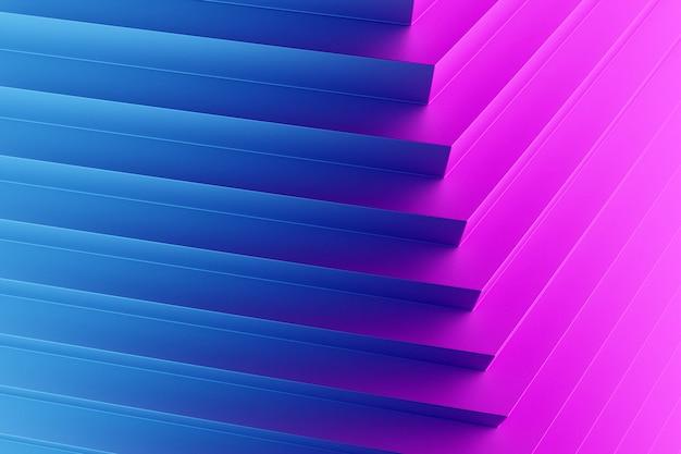 Illustration 3d d'une bande de couleurs bleu et rose. rayures géométriques similaires. motif de lignes de croisement rougeoyant abstrait