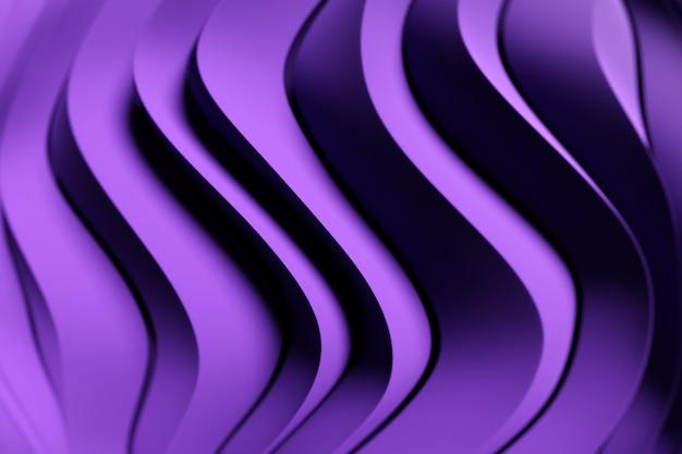 Illustration 3d d'une bande violette stéréo. rayures géométriques semblables à des vagues. motif de lignes de croisement rougeoyant jaune abstrait