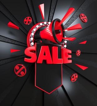 Illustration 3d d'une bannière de remise sur fond sombre mégaphone de vente inscription rouge vif