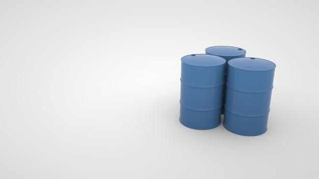 Illustration 3d de barils ronds métalliques avec du carburant, des conteneurs industriels.