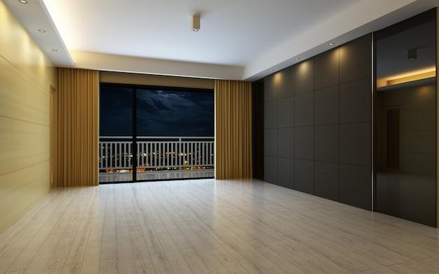Illustration 3d belle chambre chaude lumineuse, décorée avec un sol en rideau et parquet