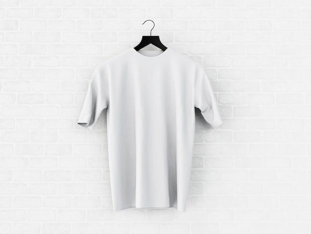 Illustration 3d blanc t-shirt, maquette.