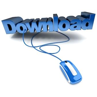 Illustration 3d bleu et blanc du mot télécharger connecté à une souris d'ordinateur