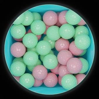 Illustration 3d d'une boîte bleue avec beaucoup de boules roses et vertes, vue de dessus. de nombreuses boules polyédriques