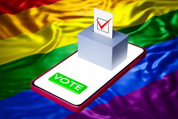 Illustration 3d d'une boîte de vote avec un panneau d'affichage debout sur un smartphone, avec le drapeau lgbt en arrière-plan. concept de vote en ligne, numérisation des élections