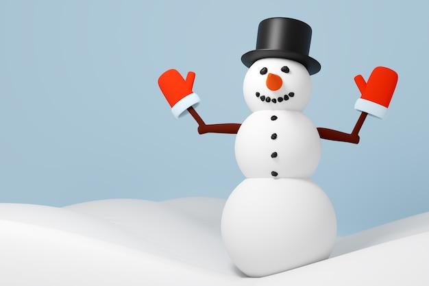 Illustration 3d de bonhomme de neige de noël