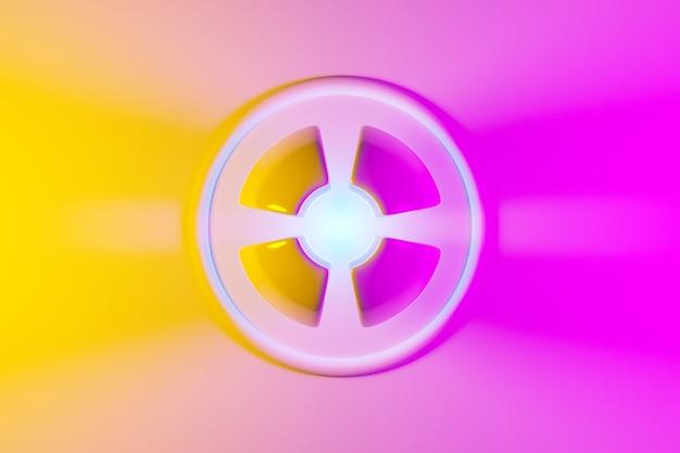 Illustration 3d d'une boule rose et jaune néon brille ses rayons dans différentes directions sur fond clair.