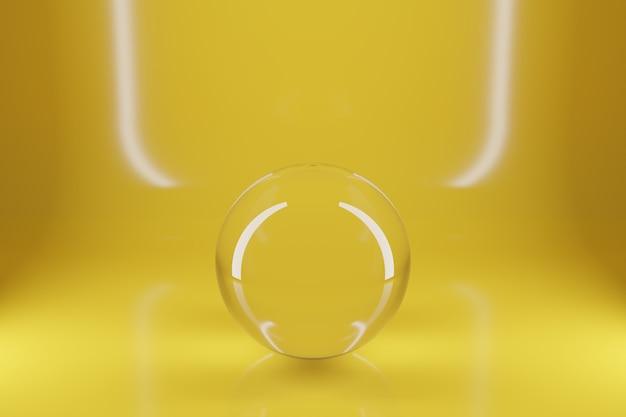 Illustration 3d d'une boule de verre transparente sur fond jaune sous un néon blanc. figure géométrique tridimensionnelle simple. forme de boule cyber