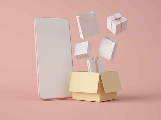 Illustration 3d. boutique en ligne et concept de commerce électronique.