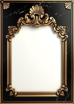 Illustration 3d. cadre doré classique dans le style baroque