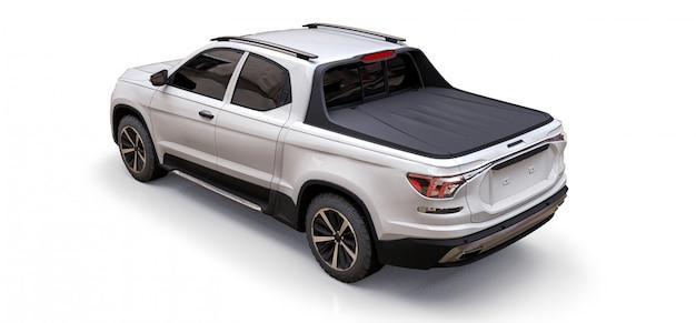 Illustration 3d de camionnette de cargaison concept blanc sur fond isolé blanc. rendu 3d.